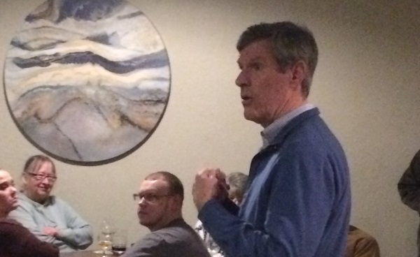 Gubernatorial candidate Fred Hubbell speaks to Poweshiek Democrats